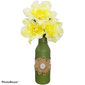 Green Moss Colored Painted Vase w/ Burlap Flower